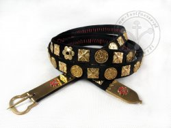 147AM Medieval belt - trimmed with silk velvet - with mounts