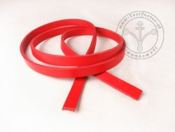 R-11 Leather belt - plain - 1,5 cm - red