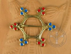 "BR-05EBR Brooch - ""Star"" -  BLUE & RED ENAMELED"
