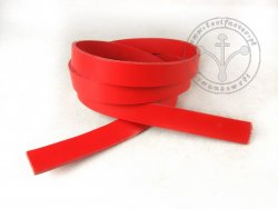 R-23 Leather belt - plain - 2 cm - red