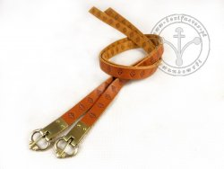 G-016.01 Leather garters with stamped decoration