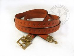 200C Medieval belt for 15th century - with openwork buckle