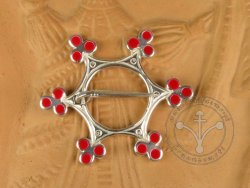 "BR-05 Brooch - ""Star"" SILVER-PLATED & RED ENAMELED"