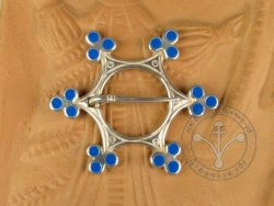 "BR-05SE Brooch - ""Star"" SILVER-PLATED & BLUE ENAMELED"