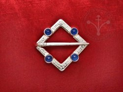 BR-12J Brooch with blue agates - SILVER PLATED