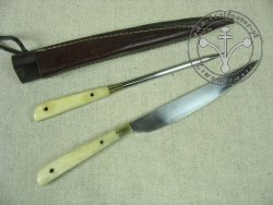 KS-020 Big medieval knife with spike - bone handles