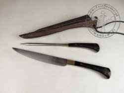 KS-025 Big medieval knife with spike - horn handles