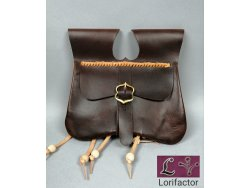 PS-01A Two-panel purse with pouches  14-15th cent. - very dark brown