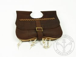 PS-03A Two-panel purse with pouches 14-15th cent. - very dark brown