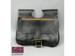 "PS-33A Two-panel medieval purse ""Gaston"" 14-15th cent. - black"