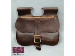 "PS-33A Two-panel medieval purse ""Gaston"" 14-15th cent. - dark brown"